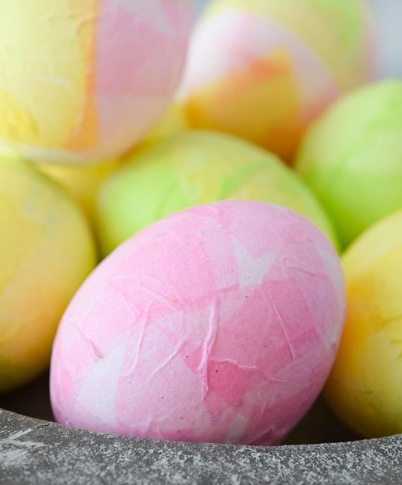 tissue paper egg decorating